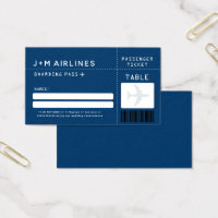 NAVY BLUE Boarding Pass Escort/Seating Card