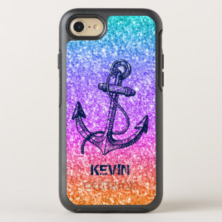 Navy Blue Boat Anchor On Colorful Glitter OtterBox Symmetry iPhone 7 Case