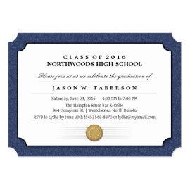 Navy Blue Border Diploma Graduation Invitation