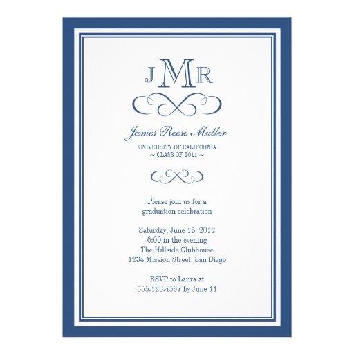 Navy blue border frame classy monogram graduation personalized announcement