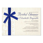 Navy Blue Bow & Lace Bridal Shower Invitations Announcements