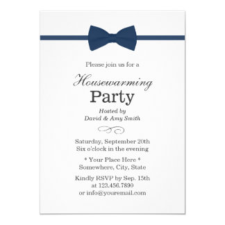 Navy Blue Bow Tie Classy Housewarming Party Card