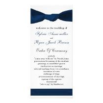 navy blue bow Wedding program