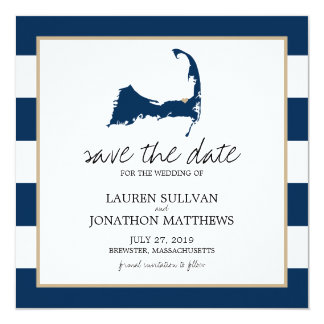 Navy Blue BREWSTER Cape Cod Map Save the Date Card