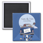 Navy Blue Bride & Groom Getaway Car Save the Date 2 Inch Square Magnet