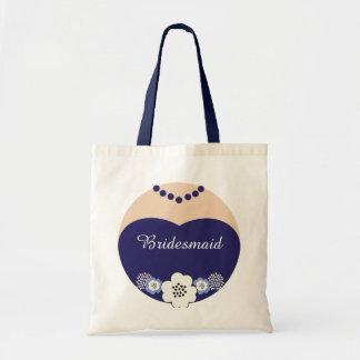 Navy Blue Bridesmaid Wedding Tote Canvas Bag