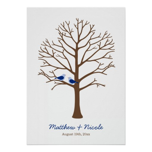 Navy Blue Brown Birds Fingerprint Tree Wedding Posters