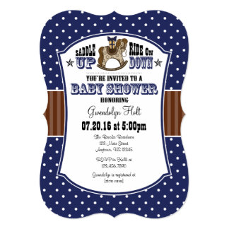 Navy Blue Brown Cowboy Baby Shower Invitation