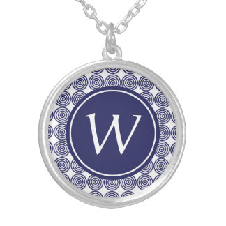 Navy Blue Bullseye Monogrammed necklace Custom Jewelry