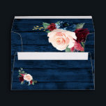 "Navy Blue Burgundy Blush Pink Country Wood Wedding Envelope<br><div class=""desc"">Navy Blue Burgundy Blush Pink Country Wood Wedding Envelopes - feature a dark navy blue barn or wood grain background (inside and out) decorated with floral and greenery elements in shades of navy, pink, burgundy and more. View the matching collection on this page to find coordinating items. NOTE: You will...</div>"