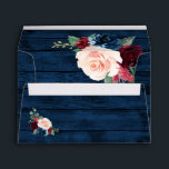 """Navy Blue Burgundy Blush Pink Country Wood Wedding Envelope<br><div class=""""desc"""">Navy Blue Burgundy Blush Pink Country Wood Wedding Envelopes - feature a dark navy blue barn or wood grain background (inside and out) decorated with floral and greenery elements in shades of navy, pink, burgundy and more. View the matching collection on this page to find coordinating items. NOTE: You will...</div>"""