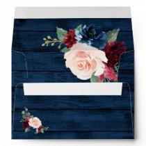 Navy Blue Burgundy Blush Pink Country Wood Wedding Envelope