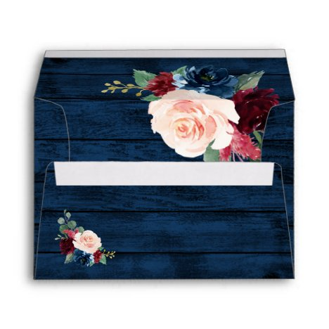 Navy Blue Burgundy Blush Pink Country Wood Wedding Envelope
