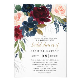 Vineyard Wine Tasting Invites Set of 20 Printed Invites with Envelopes CUSTOMIZE FOR ANY EVENT Navy Burgundy Blush Floral Bridal Shower Invitations Rehearsal Dinner Invites