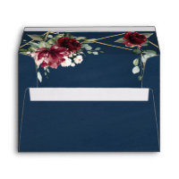 Navy Blue Burgundy Blush Pink Gold Floral Wedding Envelope