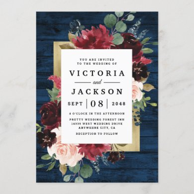 Navy Blue Burgundy Blush Pink Gold Rustic Wedding Invitation
