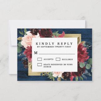 Navy Blue Burgundy Blush Pink Gold Rustic Wedding RSVP Card