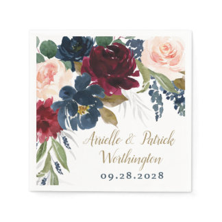 Navy Blue Burgundy Blush Pink Silver Gold Wedding Napkins