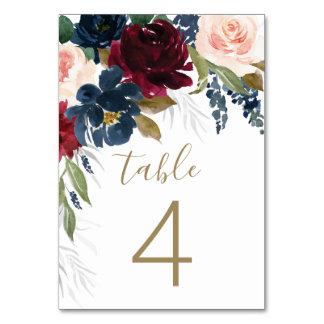 Navy Blue Burgundy Blush Pink Silver Gold Wedding Table Number