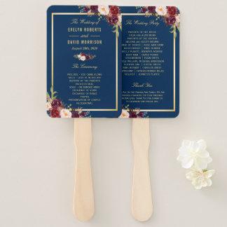 Navy Blue Burgundy Floral Gold Wedding Program Hand Fan