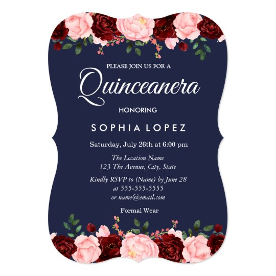 Navy Blue Burgundy Floral Quinceanera Invitation Zazzlecom