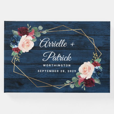 Navy Blue Burgundy Gold Blush Pink Country Wedding Guest Book