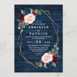 """Navy Blue Burgundy Gold Blush Pink Country Wedding Invitation<br><div class=""""desc"""">Navy Blue Burgundy Gold Blush Pink Country Wedding Invitations - feature a dark navy blue barn or wood grain background decorated with a printed gold geometric frame that's trimmed with floral and greenery elements in shades of navy, pink, burgundy and more. View the matching collection on this page to find...</div>"""