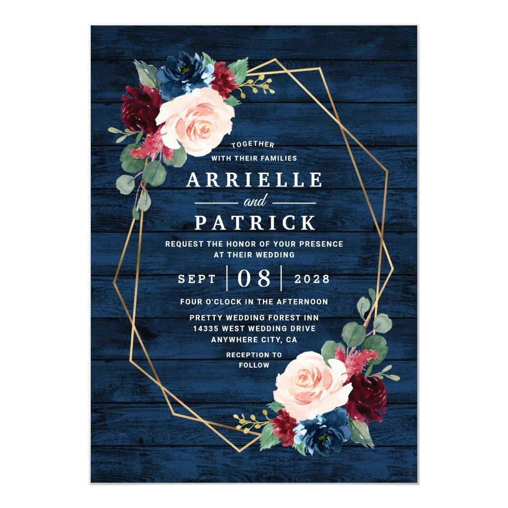 Navy Blue Country Wedding Invitations