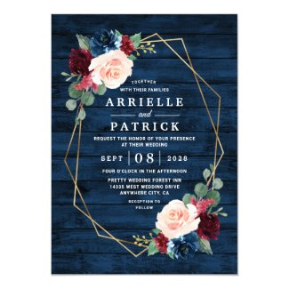 Navy Blue Burgundy Gold Blush Pink Country Wedding Invitation