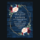 "Navy Blue Burgundy Gold Blush Pink Country Wedding Invitation<br><div class=""desc"">Navy Blue Burgundy Gold Blush Pink Country Wedding Invitations - feature a dark navy blue barn or wood grain background decorated with a printed gold geometric frame that"