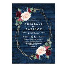 Navy Blue Burgundy Gold Blush Pink Country Wedding Invitation at Zazzle