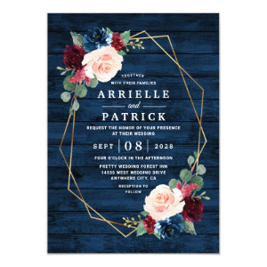 Rustic Navy Blue Gold Wedding Invitations Burgundy Country