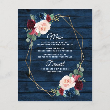 Navy Blue Burgundy Gold Blush Wedding Menu Cards