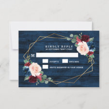 Navy Blue Wedding RSVP Cards
