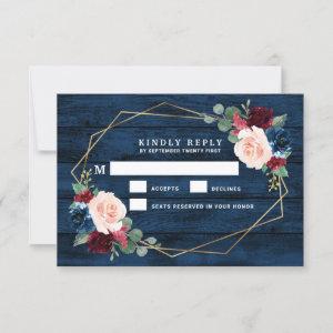 Navy Blue Burgundy Gold Pink Wedding RSVP Cards
