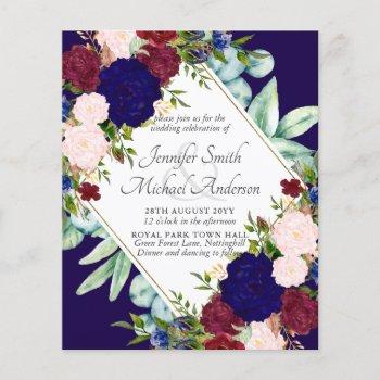 Navy Blue Burgundy Pink Floral Wedding Invitation