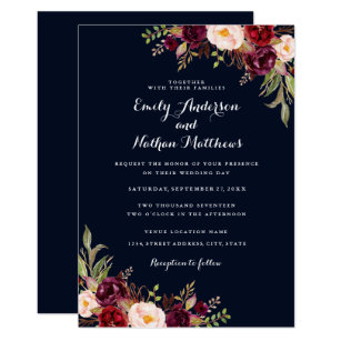 Navy Blue Red Wedding Invitations & Announcements | Zazzle