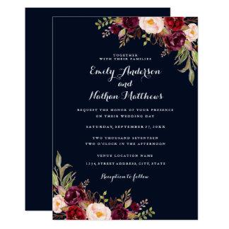 Navy Blue Burgundy Red Floral Wedding Invitation
