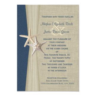 Navy Blue Burlap and Starfish Beach Wedding Card