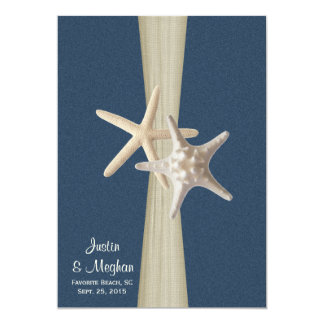 Navy Blue Burlap and Starfish Beach Wedding 5x7 Paper Invitation Card
