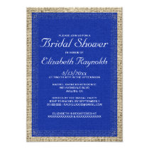Navy Blue Burlap Bridal Shower Invitations