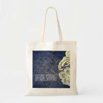 navy blue burlap lace rustic wedding bridesmaid tote bag