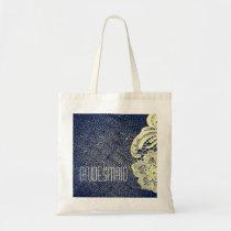 navy blue burlap lace rustic wedding bridesmaid tote bag