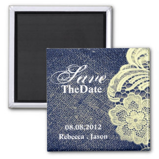 navy blue burlap lace rustic wedding save the date 2 inch square magnet
