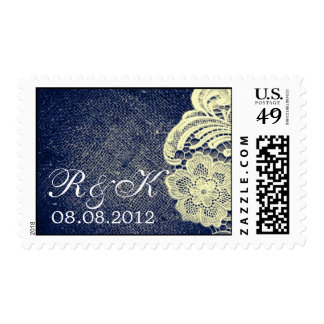 navy blue burlap lace rustic wedding save the date postage stamp