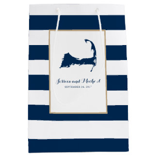 Navy Blue Stripes Gift Bags | Zazzle