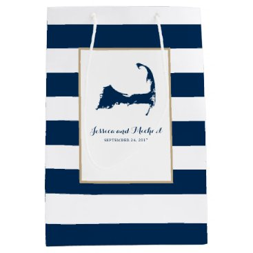 Beach Themed Navy Blue Cape Cod Map and Stripes Medium Gift Bag