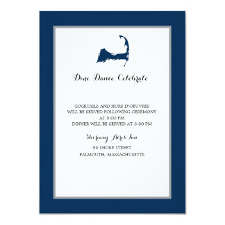 Navy Blue Cape Cod Map | Reception Card
