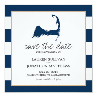 Navy Blue Cape Cod Map Wedding Save the Date Card