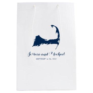 Beach Themed Navy Blue Cape Cod Massachusetts Map | GUEST BAG